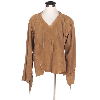 Men's Dark Tan Suede V-Neck Mountain Shirt with Fringe and Whipstiching