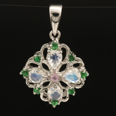 Sterling Gemstone Flower Pendant Including Rainbow Moonstone