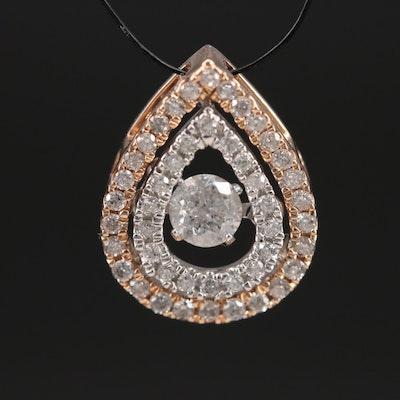 10K Rose and White Gold 0.38 CTW Diamond En Tremblant Pendant