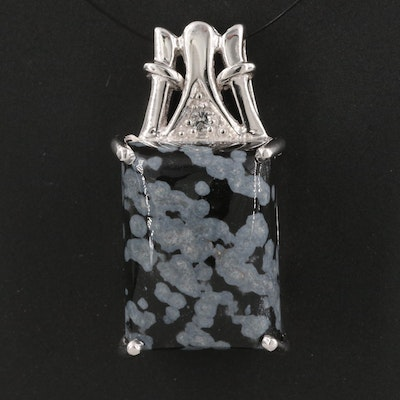 Sterling Silver Snowflake Obsidian and Topaz Pendant