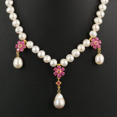 Sterling Pearl Necklace with Ruby Floral Drops