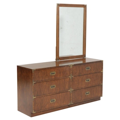 Pair of Dixie Furniture Walnut Campaign Style Bachelor's Chests with Mirror