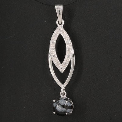 Sterling Snowflake Obsidian and Topaz Pendant