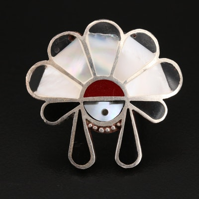 Western Style Sterling Ring Including Mother of Pearl