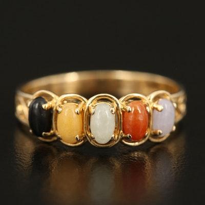 14K Five Stone Jadeite Ring