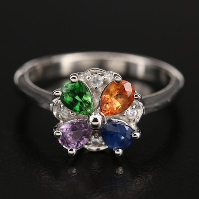 Sterling Sapphire, Diopside and Zircon Ring