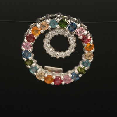 Sterling Gemstone Concentric Pendant with Tourmaline