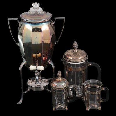 Universal Silver Plate Coffee Percolator and Pyrex French Press Coffee Set