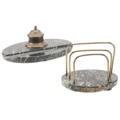 Marble and Brass Inkwell and Letter Rack, Late 19th/ Early 20th Century