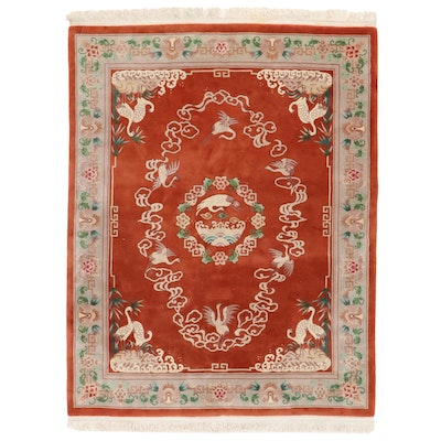 8' x 10'10 Hand-Knotted Chinese Carved Pile Area Rug