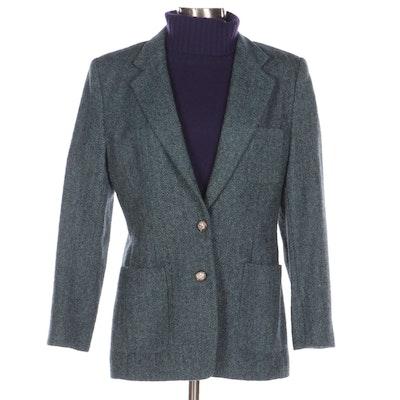 Lauren by Ralph Lauren Herringbone Wool Jacket and Purple Cashmere Turtleneck