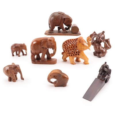 South East Asian Style and Other Wood Elephant Figurines and Doorstop