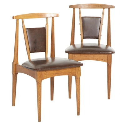 Pair of Modern Side Chairs with Faux Leather Upholstery, Late 20th Century