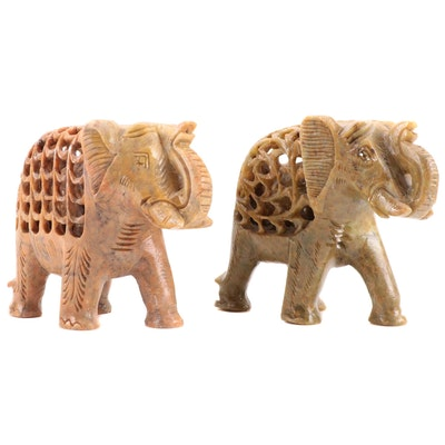 Pair of  Southeast Asian Soapstone Carved Reticulated Elephant Figurines