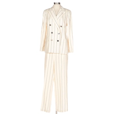 Lauren by Ralph Lauren Double-Breasted Pinstripe Pantsuit