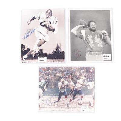 Dan Fouts, O.J. Simpson, and Paul Lowe Signed Football Photo Prints, COAs
