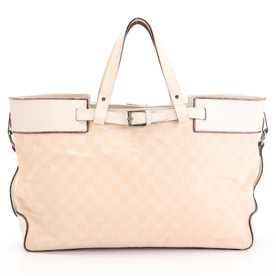 Gucci Belted Tote Bag in GG Canvas with Leather Trim