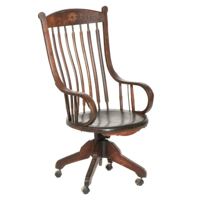 Johnson Oak Arrow-Back Office Chair with Bent Wood Arms, Early 20th Century