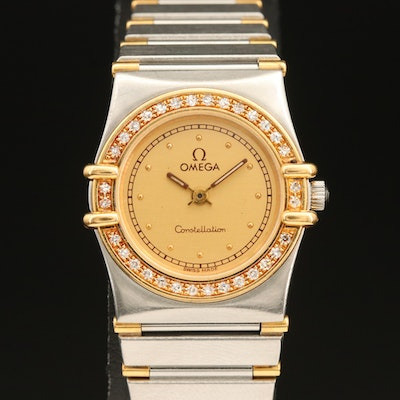 18K Gold and Stainless Steel Omega Constellation Diamond Wristwatch