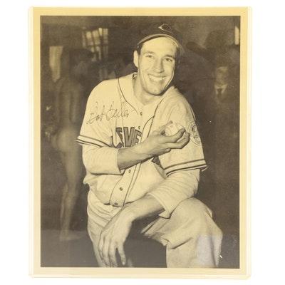 Bob Feller Signed Cleveland Indians Major League Baseball Photo Print, COA
