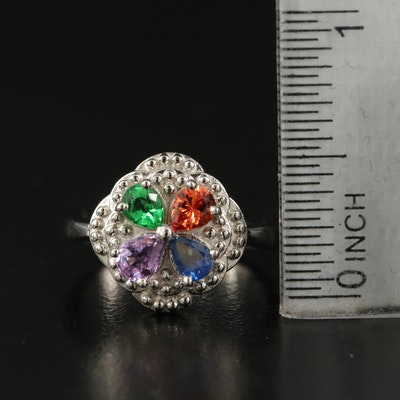 Sterling Tourmaline and Sapphire Ring