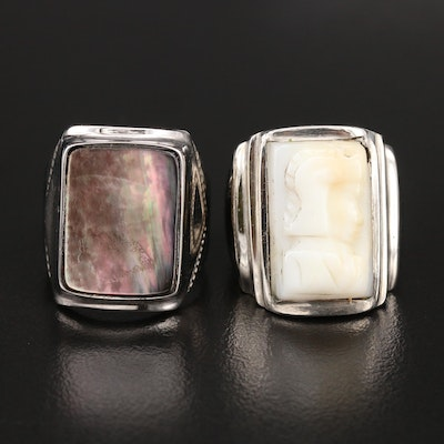 Mother of Pearl and Calcite Soldier Cameo Rings