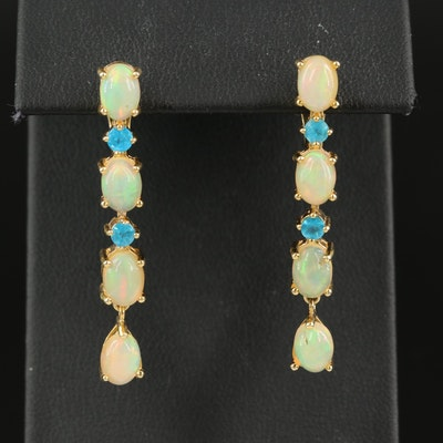 Sterling Opal and Apatite Earrings