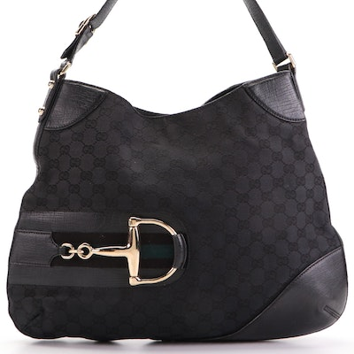 Gucci Hasler Horsebit Hobo Bag in GG Canvas with Black Leather Trim