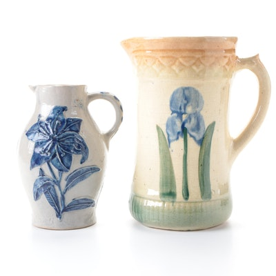 American Salt Glazed Stoneware Pitchers, Late 19th/ Early 20th Century