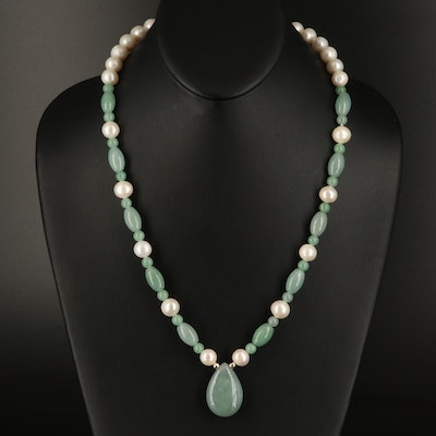14K Jadeite and Pearl Necklace