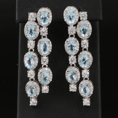 Sterling Silver Sky Blue Topaz and Cubic Zirconia Waterfall Earrings