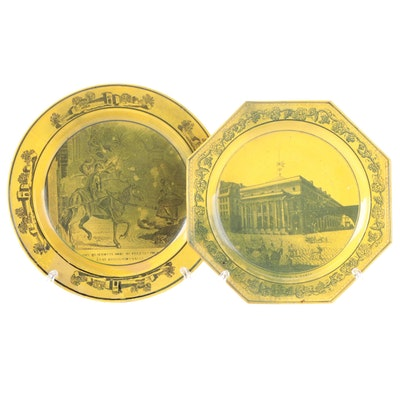French Creamware Canary Yellow and Black Transferware Plates, Early 19th C.