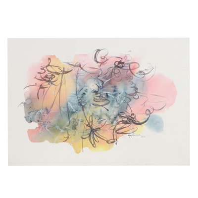 Inga Kovalenko Abstract Ink and Watercolor Painting, 21st Century