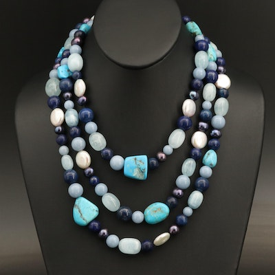 Endless Turquoise, Lapis Lazuli and Lace Agate Necklace