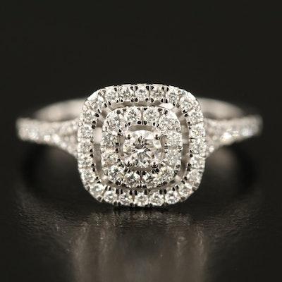 10K 0.51 CTW Diamond Double Halo Ring
