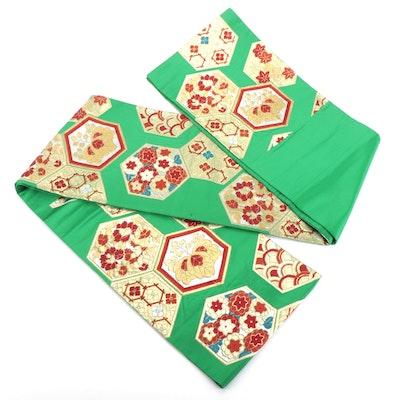 Green Silk and Metallic Floral Kikko Brocade Fukuro Obi, Shōwa Period