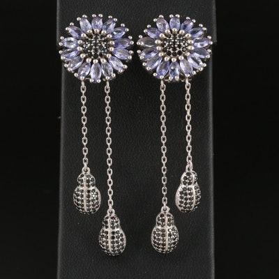 Sterling Tanzanite and Black Onyx Floral Earrings with Insect Drop Accents