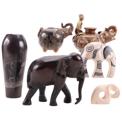 African and East Asian Style Elephant Figurines, Teapots, and Vase