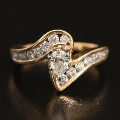 14K 0.97 CTW Diamond Bypass Ring