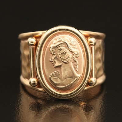 14K Italian Gold Cameo Ring with Open Band