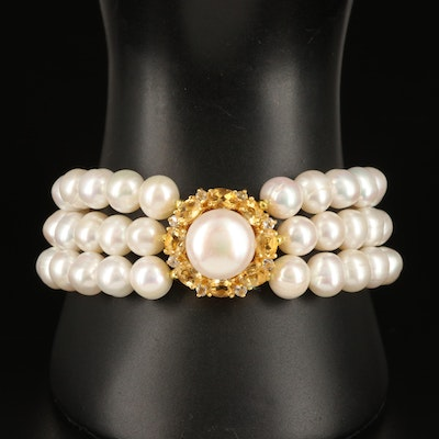 Sterling Pearl Triple Strand Bracelet with Citrine and Topaz Pendant