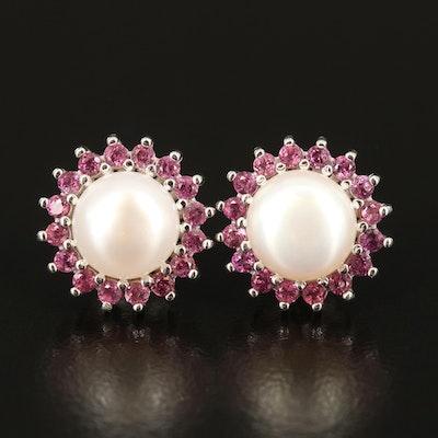 Sterling Pearl and Garnet Halo Earrings