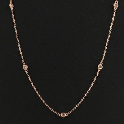 18K Bezel Set 0.25 CTW Diamond Station Necklace
