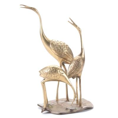 Modernist Cast Brass Figurine of Three Cranes on a Lily Pad