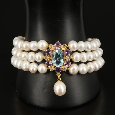 Sterling Pearl Triple Strand Bracelet with Sky Blue Topaz and Amethyst