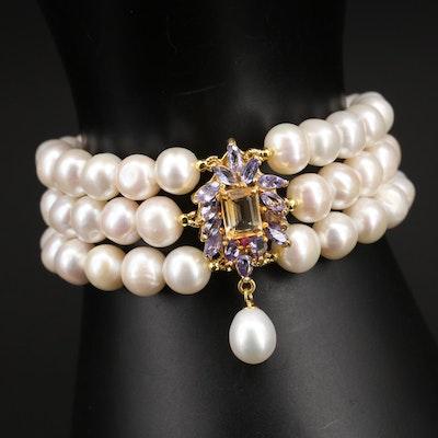 Sterling Pearl, Citrine and Tanzanite Triple Strand Bracelet