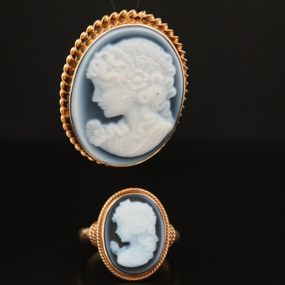 14K Jasperware Oval Cameo Pendant and Ring
