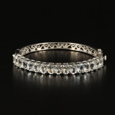 Sterling Aquamarine Hinged Bracelet