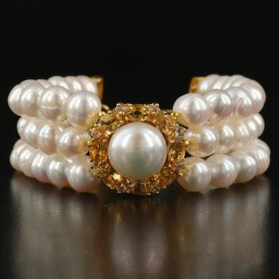 Sterling Pearl, Citrine and White Topaz Bracelet