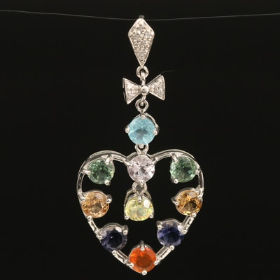 Sterling Heart Pendant with Apatite, Zircon and Iolite